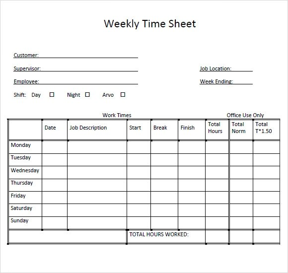 Sample Weekly Timesheet Template - 9+ Free Documents Download in PDF