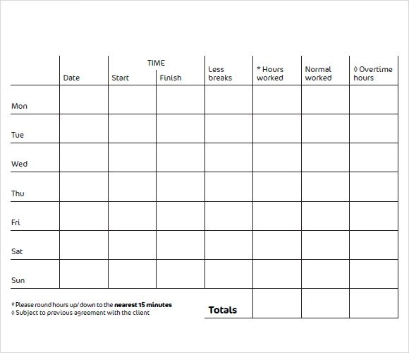 9+ Blank Timesheet Templates - Free Sample, Example, Format