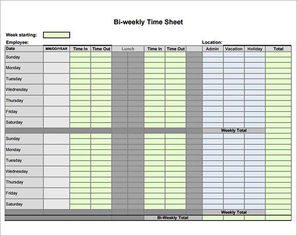 biweekly time sheets