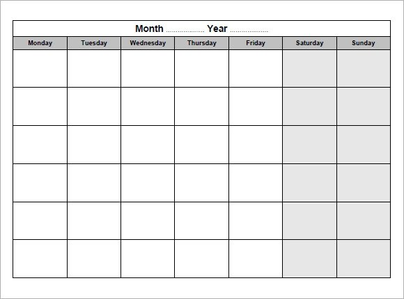 12 Blank Calendar Templates \u2013 Free Samples, Examples  Format