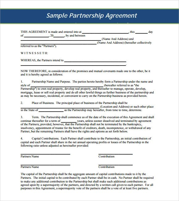 10+ Sample Business Partnership Agreements Sample Templates - Sample Business Partnership Agreement