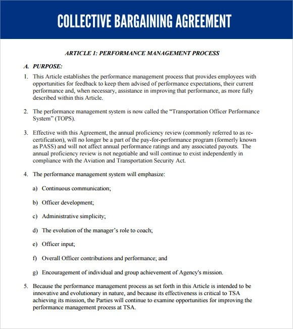 6+ Sample Collective Bargaining Agreements Sample Templates - sample collective bargaining agreement
