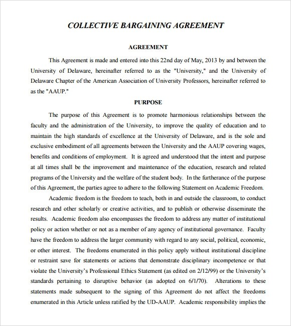 6+ Sample Collective Bargaining Agreements Sample Templates - collective bargaining agreement template