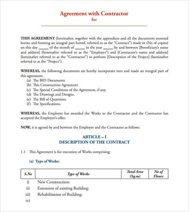 Sample Contract Agreement - 8+ Documents In PDF, Word - free construction contracts templates