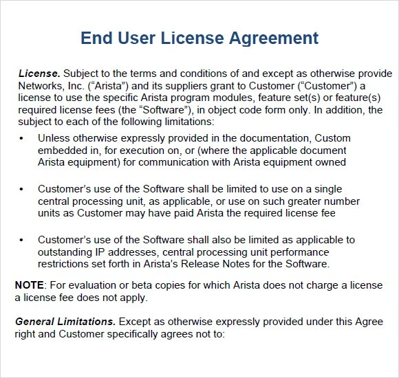 Sample End User License Agreement Template  Create Professional