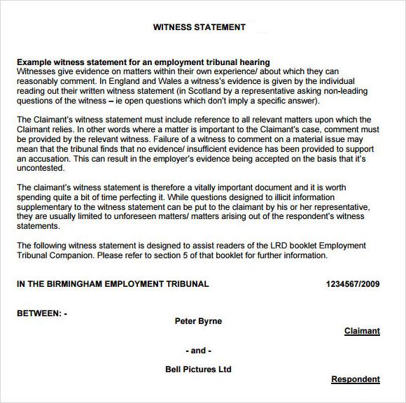 witness statement format - Onwebioinnovate - sample witness statement