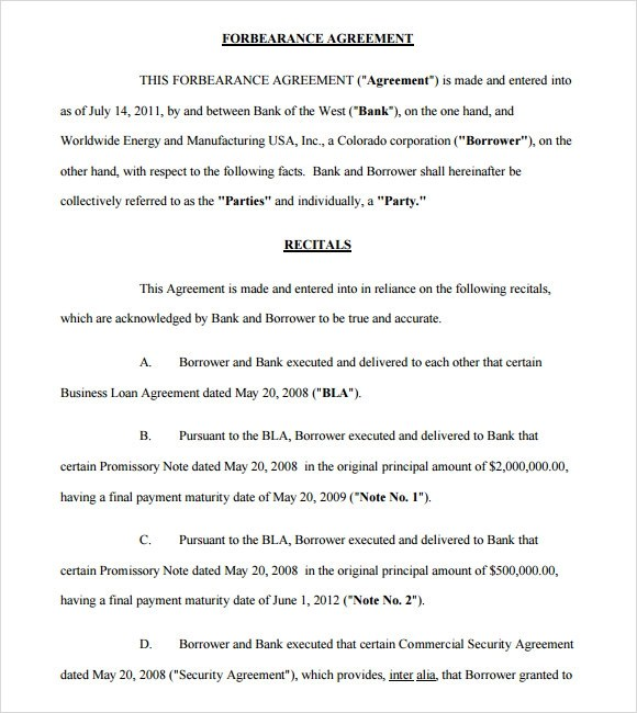 Forbearance Agreement Template Some Banks And Others Who Handle