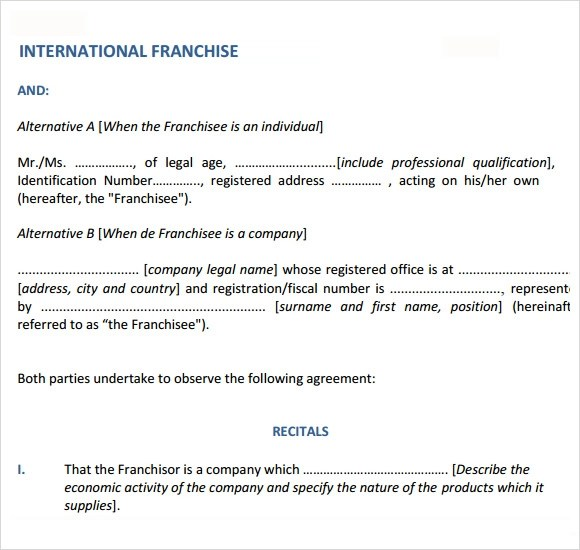 Sample Franchise Agreement \u2013 13+ Documents In PDF, Word