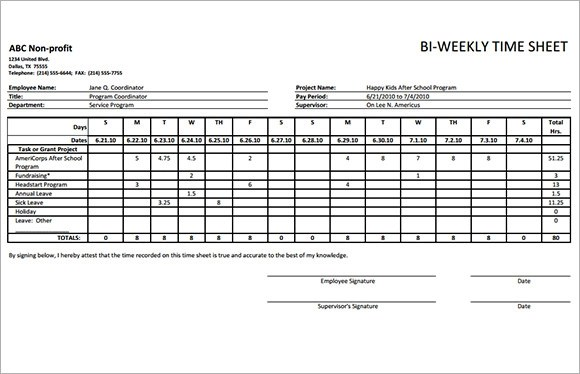 Biweekly Time Sheet Calculator Payroll Timesheet Template ~ Biweekly