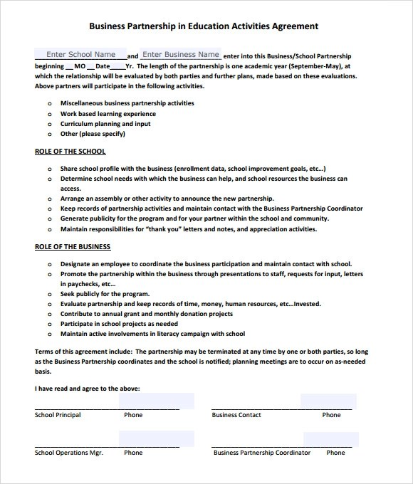 10+ Sample Business Partnership Agreements Sample Templates