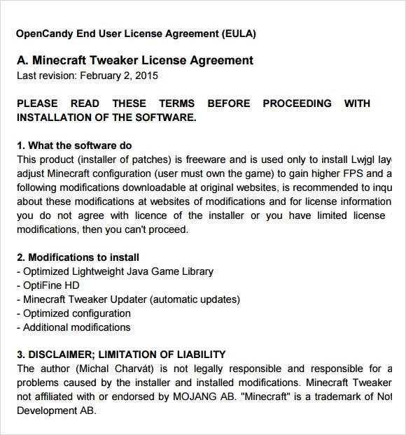 Sample End User License Agreement \u2013 6+ Free Samples , Examples , Format