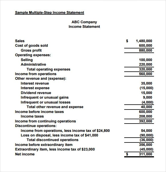 Sample Income Statement - 9+ Documents In PDF, Word - income statement template