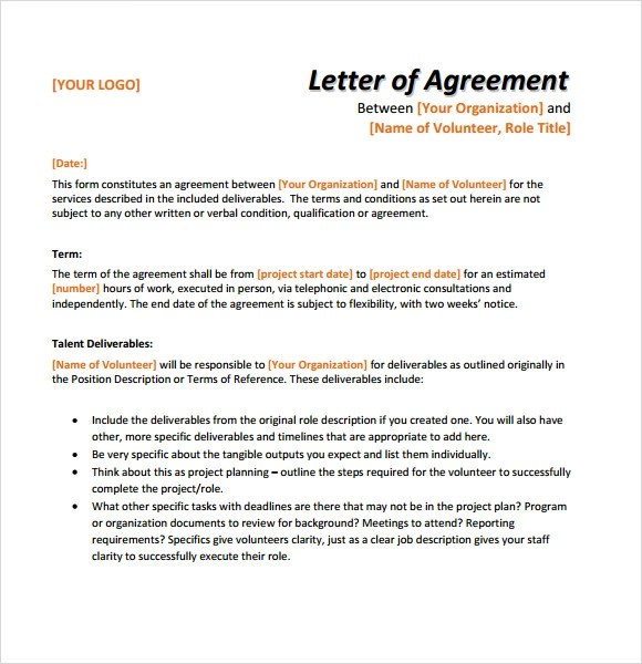 Sample Letter of Agreement u2013 8+ Example, Format - agreement letter examples