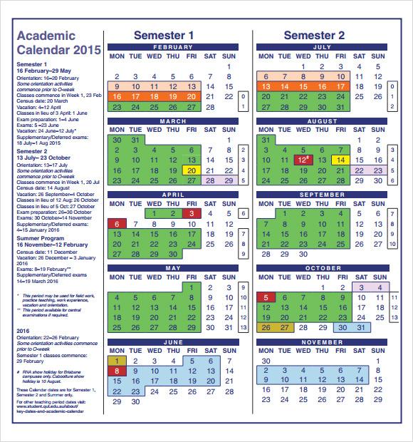 Academic Calendar Templates - Resume Template Sample