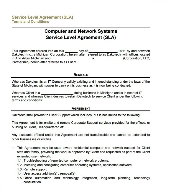 Sample Service Level Agreement u2013 8+ Example, Format - it service agreement template