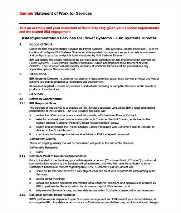 Sample Statement of Work \u2013 10+ Examples in Word, PDF