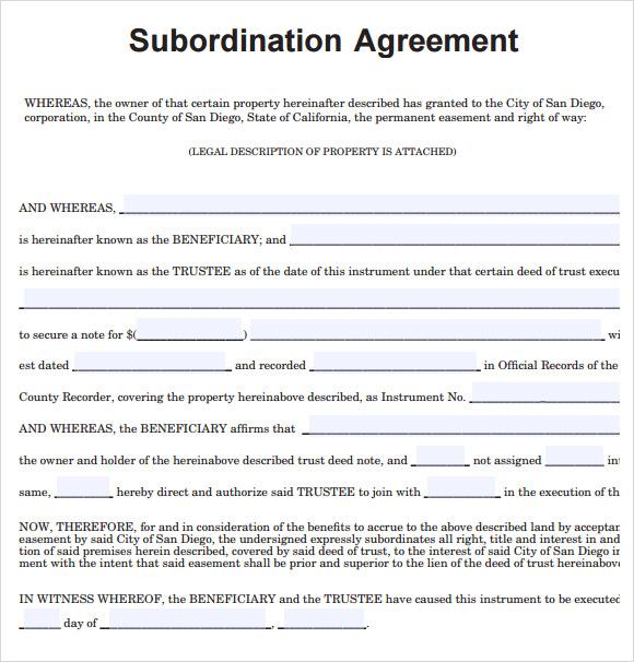 9+ Subordination Agreement Samples Sample Templates - sample subordination agreement template