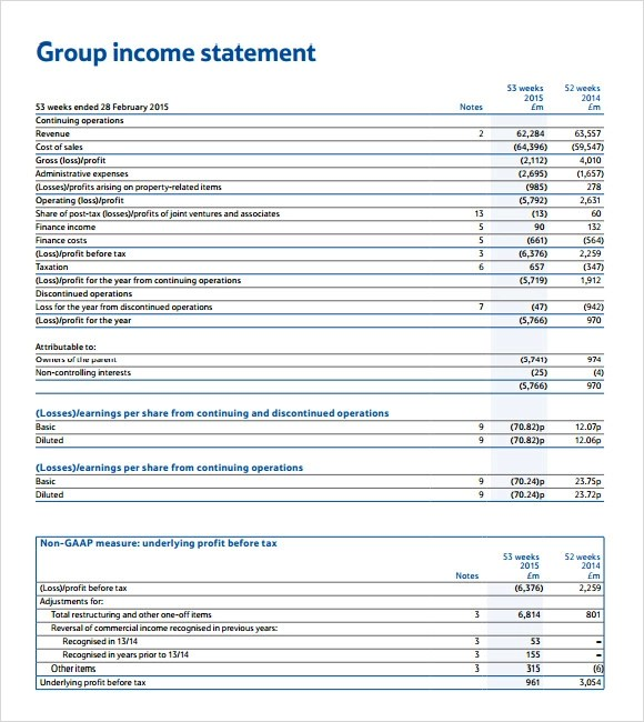 9+ Income Statement Example Templates Sample Templates - blank income statement and balance sheet