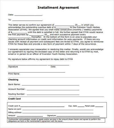 Installment Agreement – 7+ Free Samples , Examples , Format