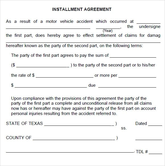 Sample Installment Agreement - 5+ Documents In PDF, Word