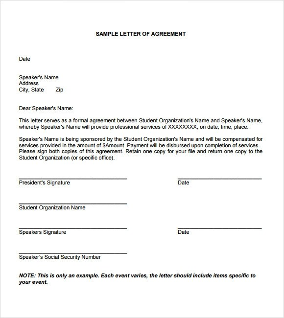 9+ Letter of Agreement Samples Sample Templates