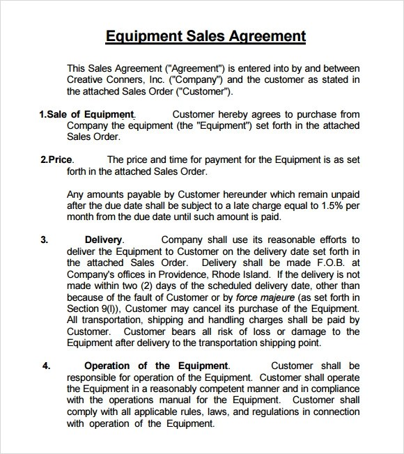 Sample Sales Agreement - 8+ Examples Format