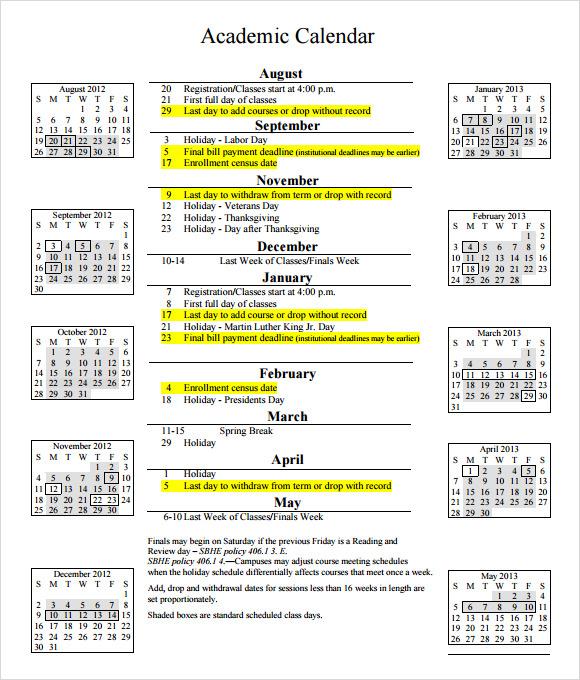 sample academic calendar - Ozilalmanoof