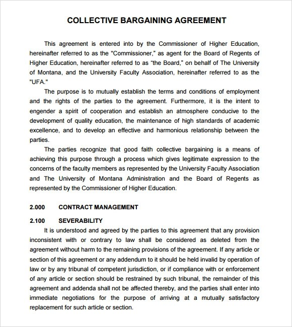 Collective Bargaining Agreement Template – Collective Bargaining Agreement Template