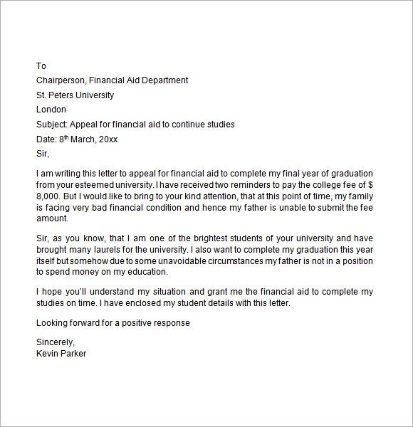 Financial Aid Appeal Letter Sample gplusnick - appeal letter
