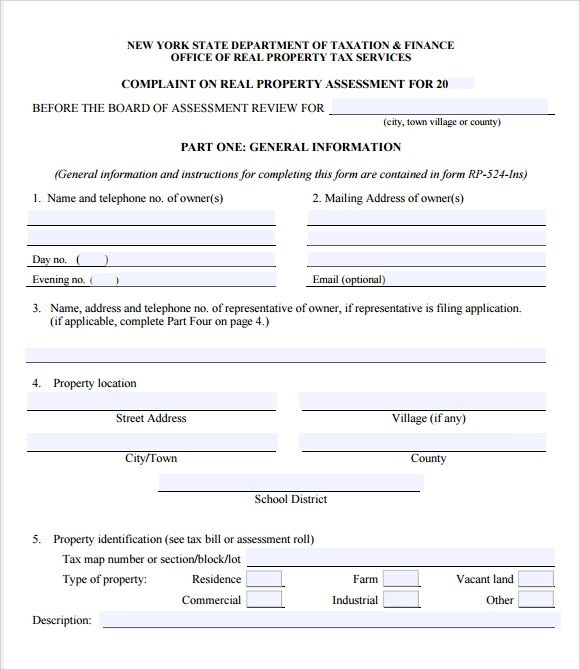 Sample Tax Assessment \u2013 6+ Example, Format