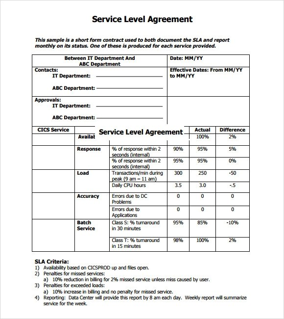 Sample Service Level Agreement u2013 9+ Example, Format - sample master service agreement