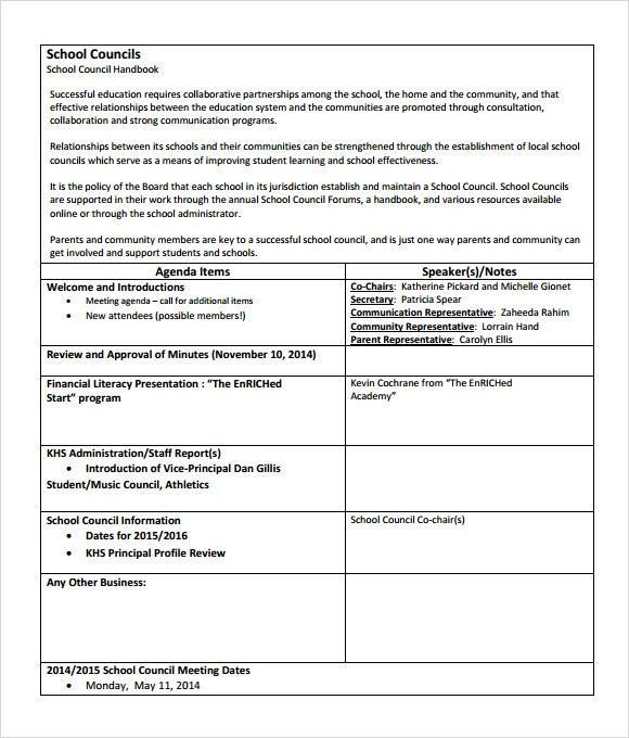 6 School Agenda Templates \u2013 Free Samples , Examples  Format - sample student agenda