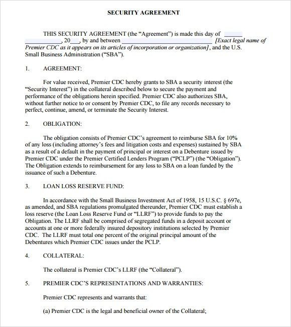 Sample Security Agreement - 9+ Example, Format - sample security agreement