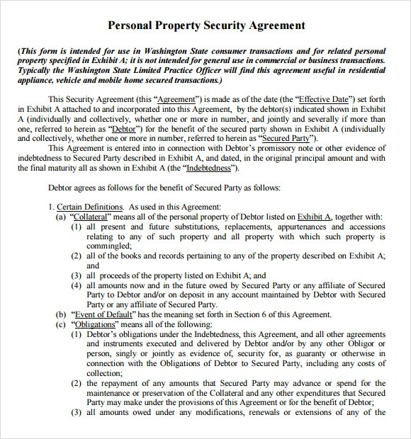12+ Security Agreement Samples - Word, PDF