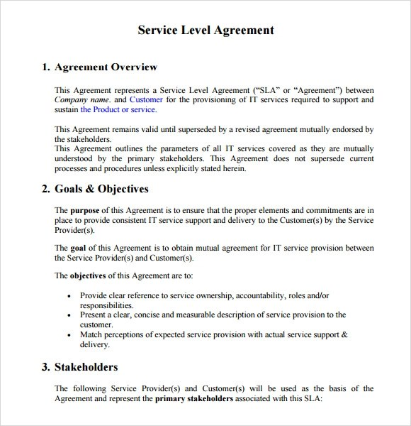 Service Level Agreement Templates Uk  Resume Maker Create