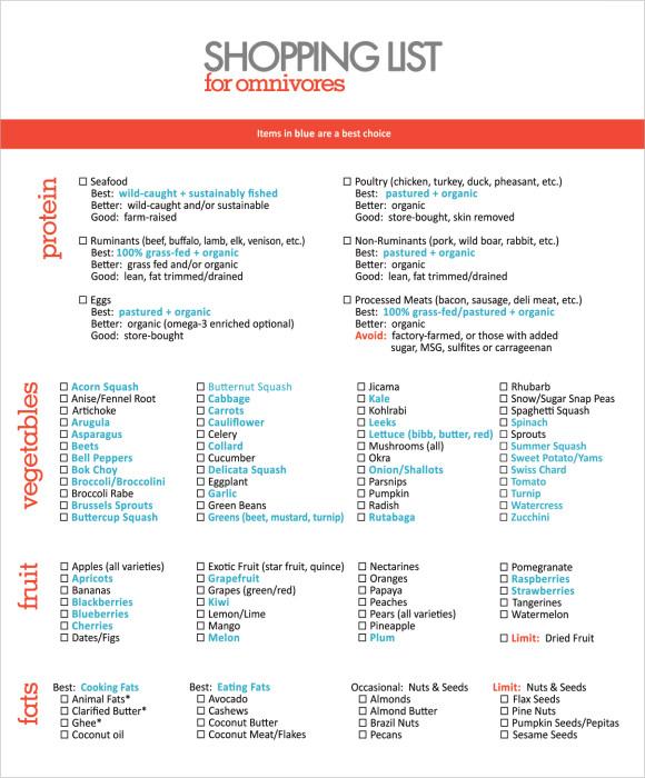 6+ Shopping List Samples Sample Templates - sample shopping list