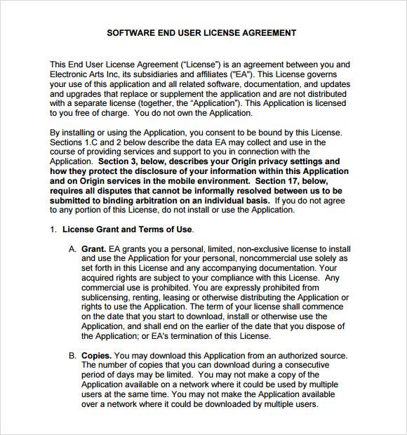 Sample End User License Agreement \u2013 6+ Free Samples , Examples , Format
