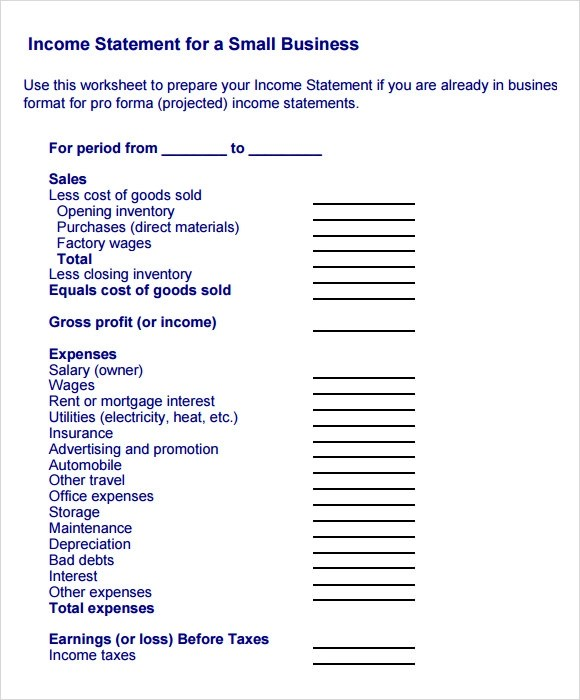 business income statement template - Onwebioinnovate - income statement examples