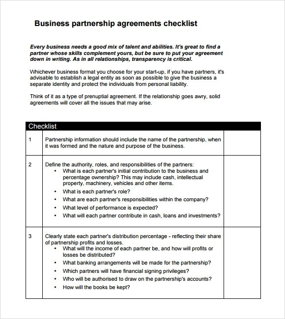 ... Small Business Partnership Agreement Sample   Minimfagency ...
