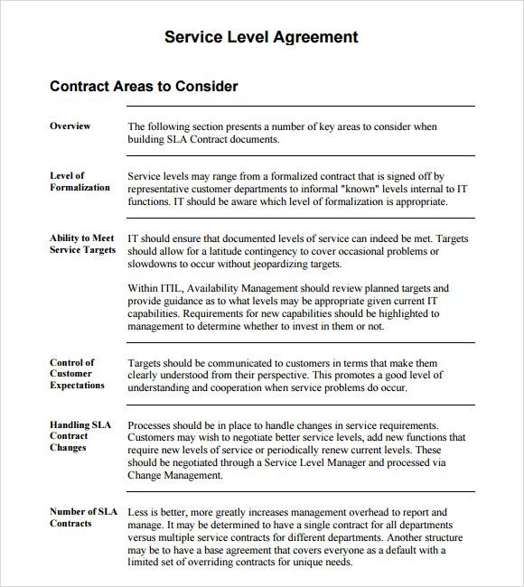 16+ Service Level Agreement Samples - Word, PDF