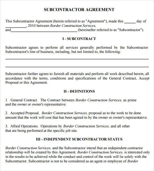 8+ Subcontractor Agreement Samples Sample Templates
