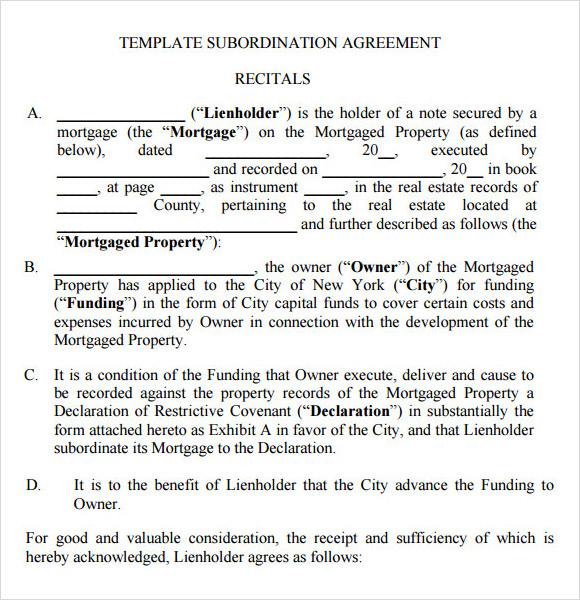 Sample Subordination Agreement u2013 8+ Example, Format - subordination agreement template