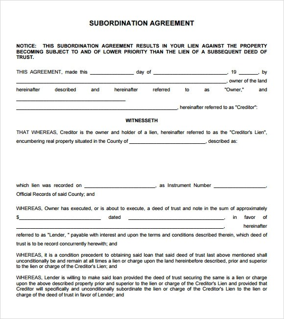 9+ Subordination Agreement Samples Sample Templates