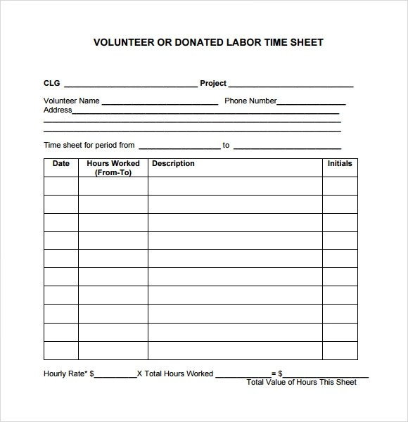 ... Sample Volunteer Timesheet U2013 9+ Example, Format   Volunteer  Timesheet Template ...