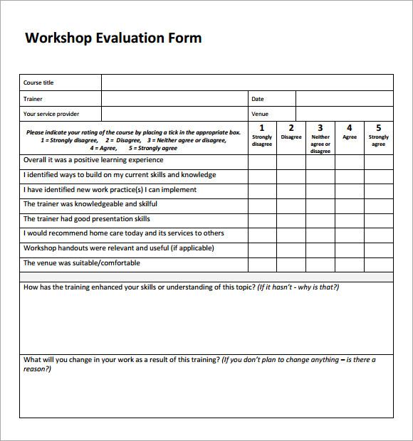 √ Sample Workshop Evaluation Form