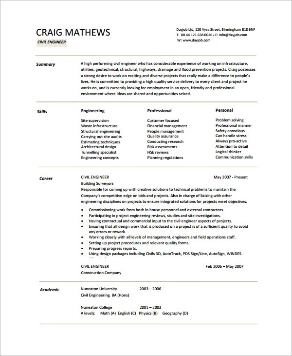 8+ Engineering CV Templates Sample Templates - Academic Cv Template