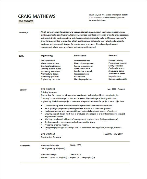 cv examples for engineering students
