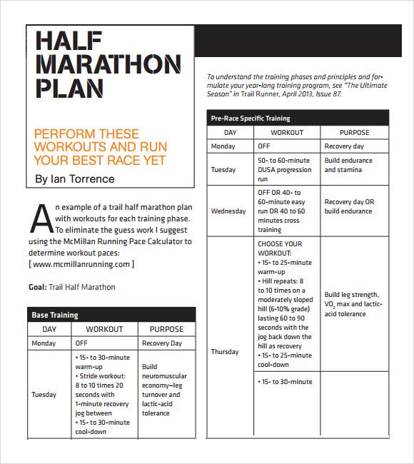 Sample Half Marathon Pace Chart - 5+ Documents in PDF