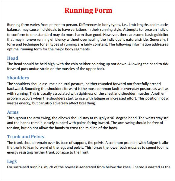 Sample Proper Running Form - 7+ Free Documents Download In - proper running form
