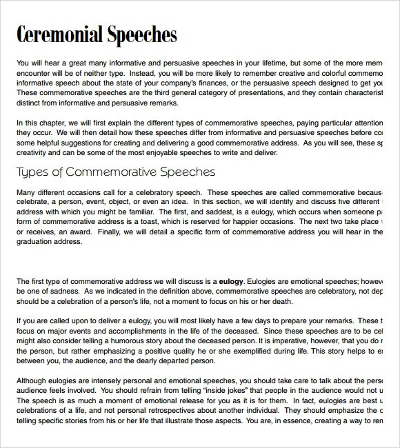 Sample Commemorative Speech Examples - 6+ Documents in PDF